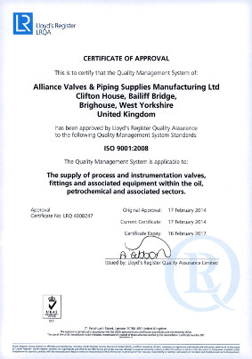 Accredited to the ISO 9001 2008 Quality Standard, within the Oilfield & Petrochemical sector by LRQA